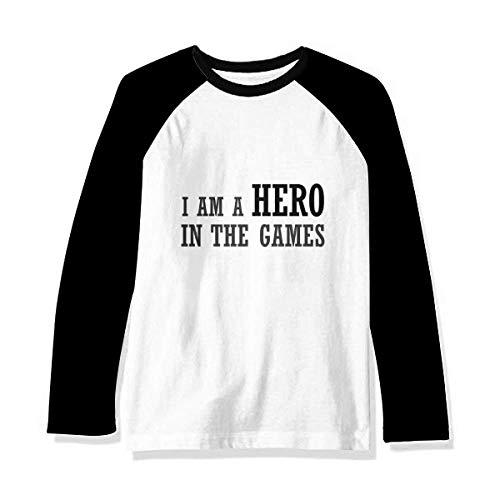 I Am A Hero in The Games Art Deco Gift Fashion Manga Comprida Camiseta Raglan, Multicor, XXL