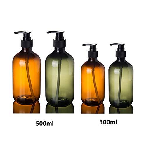 WI 2ps 300ml 500ml Kunststoff-Lotion-Flaschen mit Lotion Pumpe for Shampoo, Körperpflege, Lotion nachfüllbar Boston Flaschen Startseite Reuse (Color : Green, Size : 300ml)