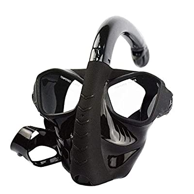 工業用化学ガスマスク 大人フルフェイスドライシュノーケリングは強化ガラス飛散防止防曇マスク フェイスマスク (色 : Black, Size : 30x14cm)