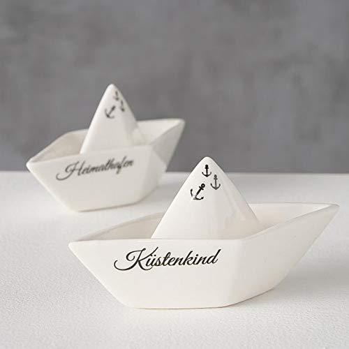 Deko Schiffchen Boot Saily 2 Sorten L: 15,5cm Weiß Porzellan Deko Bott Schiffchen für Badezimmer Badewanne Miniboot Stranddeko