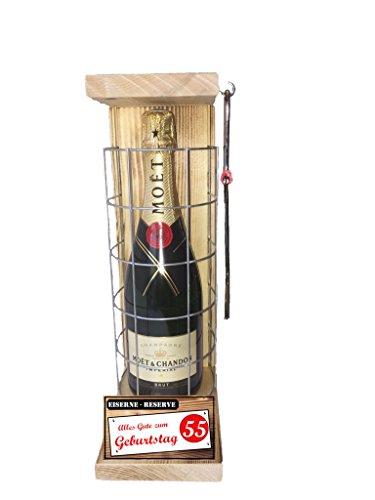 Alles Gute zum 55 Geburtstag - Eiserne Reserve Champagner Moët & Chandon 0,75L incl. Säge zum zersägen des Gitter - Geschenk für Männer - Geschenk für Frauen zum 55