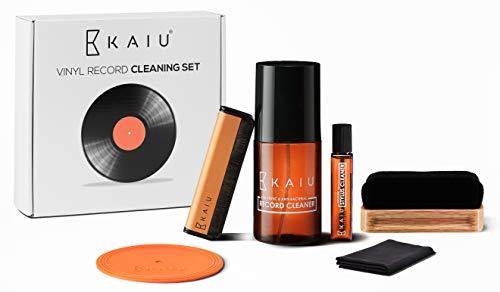 KAIU Schallplatten Reinigung Set - 6-in-1 Schallplatten Reinigungslösung, Nadel-Reiniger, Kohlefaser- und Samt Reinigungsbürste und Mikrofasertuch - Premium Vinyl Schallplatten Instandhaltungs-Kit