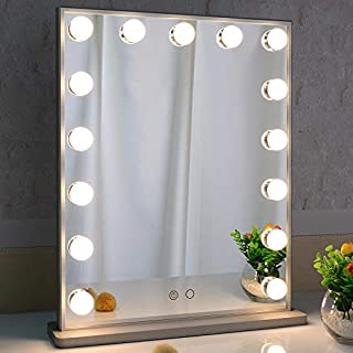 MarriedMan with Lights,LED Lighted Mirror with 15pcs Dimmable Bulbs,Tabletop or Wall Mounted Dressing Illuminated Beauty M...