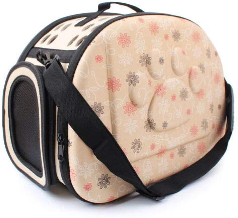 FidgetGear Portable Pet Dog Cat Travel Tote Sided Carrier Foldable Shoulder Bag Cage Kennel Champagne +1 M