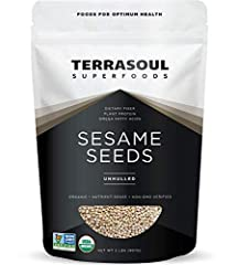 Terrasoul Superfoods Raw Unhulled Organic Sesame Seeds, 2 Pounds Certified Organic, Earth Kosher, Non-GMO, Raw, Gluten-Free, Vegan. Having a rich nutty flavor, sesame seeds are rich in omega 6 fatty acids, calcium, antioxidants and protein. Terrasoul...
