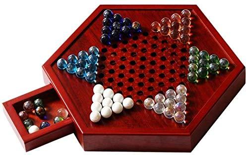 Schaakbord speelgoed Chinees Dammen, Houten Hexagonal Board, Glass Bead Dammen, Clever Laden, handiger om Store, Gezond materiaal (Maat: 32 * 16 * 4 cm)