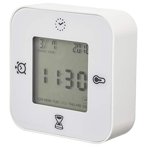 IKEA KLOCKIS - Reloj / termómetro / alarma / temporizador, blanco