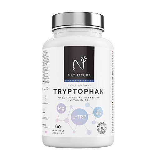 TRIPTÓFANO + Magnesio + Melatonina + Vitamina B6. Suplemento alimenticio a base de L-Triptófano concentrado (600mg) para regular el sueño, estado de ánimo y ansiedad. 60 cápsulas vegetales.