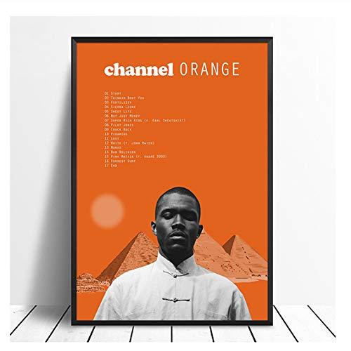 Cartel Frank Ocean Channel Orange Album Pop Music cover Music Star Poster Canvas Prints Arte de pared para sala de estar Decoración para el hogar-50x70cm Sin marco