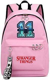 Mochila Stranger Things Eleven, Mochila Stranger Things Escolar Adolescente Mujer Primaria Mochilas y Bolsas Escolares Stranger Things Impresión Juvenil Bolsa Infantil (Rosa-6)