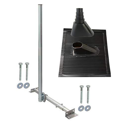 SkyRevolt Aufdachsparrenhalter SAT TV Dachsparrenhalter 120cm Kabeleinführung Mast 48mm Aufdach-Sparren-Halterung für Satellitenschüssel | Dachmontage-Set
