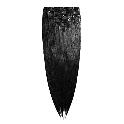 Clip in Extensión de cabello Conjunto - 7 postizos lisos Extensiónes 60 cm en el color negro de la marca MyBeautyworld24