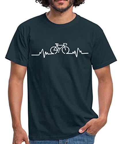 Fahrrad EKG Herzschlag Rennrad Bike Männer T-Shirt, S, Navy