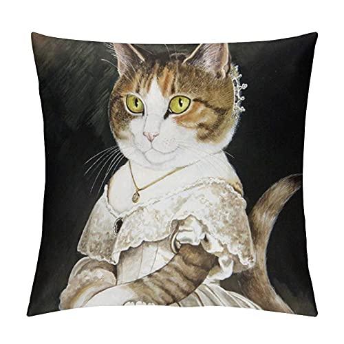 JKLM Funda de almohada personalizada Queen Victoria Cat de terciopelo de una cara para decoración del hogar, funda de almohada de 45,7 x 45,7 cm