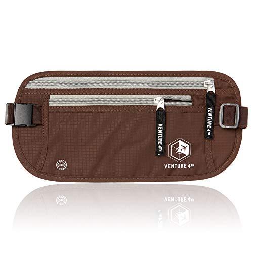 VENTURE 4TH RFID Blocker Money Belt for Men and Women (Brown)
