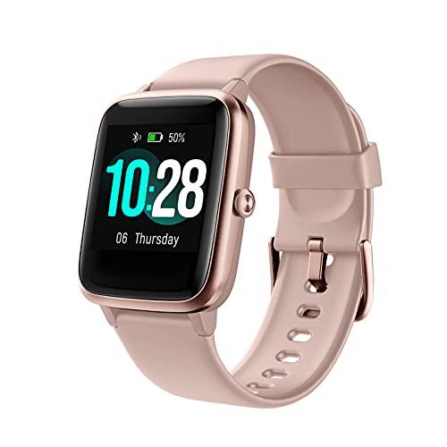 QFSLR Hombre Mujer Smartwatch, Reloj Inteligente Deportivo Impermeable IP68 Pulsera De Actividad con Monitor De Frecuencia Cardíaca Control De Música Entrenamiento Respiratorio,Rosado