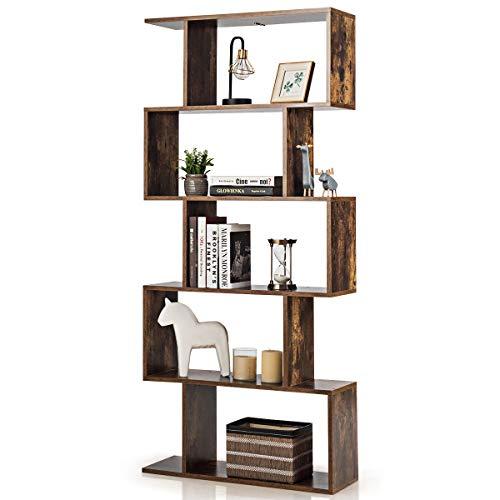 COSTWAY Bücherregal Holz, Bücherschrank 5 Ebenen, Standregal Vintage, Würfelregal braun, Aufbewahrungsregal 70x24x158cm