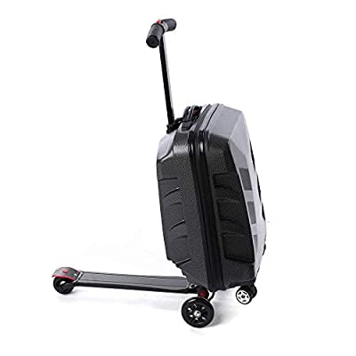 """DiLiBee 20"""" Suitcase Scooter Travel Carry on Luggage Scooter Business 5 Wheels Case for Outdoor Travel/Business Scooter for Adult with Front Luggage Box Luggage Wheeled Waterproof"""