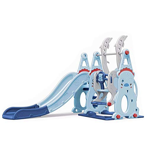 Tiktaktoo 3in1 Children Playground With 160 CM Slide, Height-Adjustable Swing + Basketball Hoop Indoor And Outdoor Play Tower And Slide with Extra Widths Levels - Blue