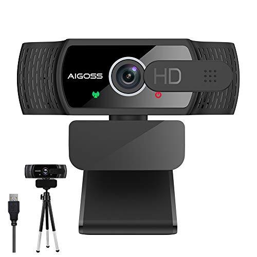 Aigoss Webcam per PC con Microfono,1080P USB Webcam per Video Chat e Registrazione, Plaug And Play Webcam con Cover e Treppiede,Compatibile con Windows, Mac e Android Laptop/Desktop