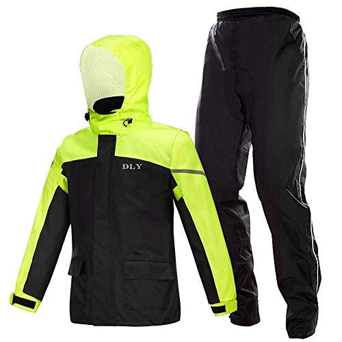 レインコート(L) レインウェア レインスーツ メンズ カッパ 自転車 上下セット 完全防水 ダブルスリーブ設計 着脱可能 雨衣 通勤通学 アウトドアに適用 四季兼用