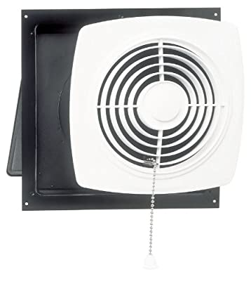 "Broan-Nutone 507 Chain-Operated Ventilation Fan, Plastic White Square Exhaust Fan, 7.0 Sones, 250 CFM, 8"""