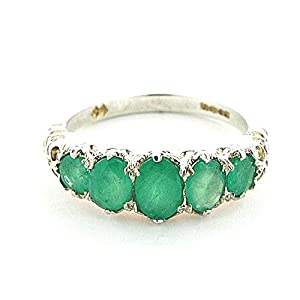 925 Sterling Silver Real Genuine Emerald Womens Promise Ring - Size 9