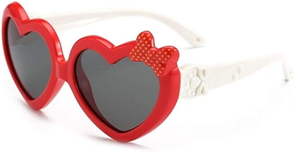 Fashion children's sunglasses boys and girls cute heart bow sunglasses 100% UV protection (Color : Red)