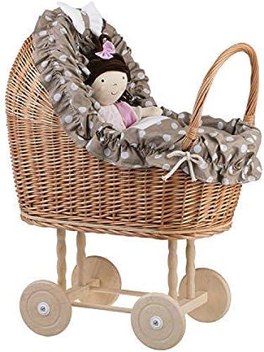 e-wicker24 EIN Wagen, EIN Bett für Puppen aus Weiße, Spielzeug aus Weiße, Puppenwagen aus Weiße, Korbpuppenwagen, Weißenwagen