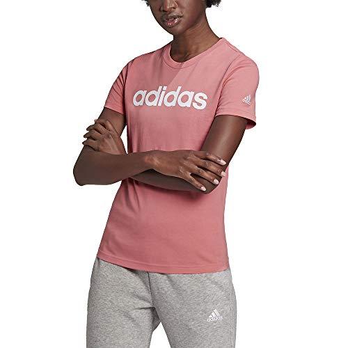 adidas Womens Linear T-Shirt Hazy Rose/White Large