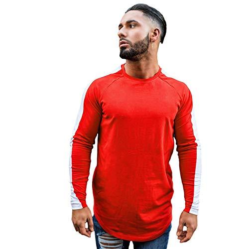 XIAMUSUMMER Einfarbiges T-Shirt, Hip-Hop-Rundhals-Herren-Langarm-Oberteil - Herren - Sports T-Shirts for Men