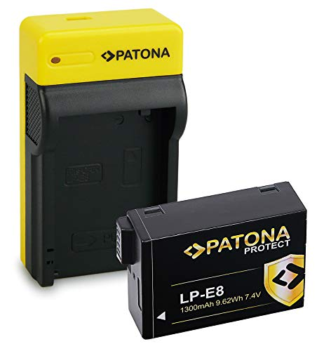 PATONA Estrecho Cargador con Protect Bateria LP-E8 / LP-E8+, NTC, Carcasa V1 Compatible con Canon EOS 700D Rebel T4i T5i