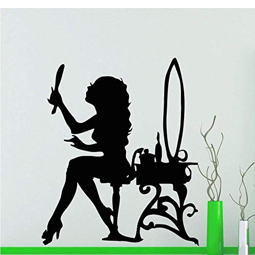 Schoonheid Salon Muurstickers Meisje Stickers Spiegel Poeder Kamer Vinyl Decal Woonkamer Huisdecoratie Badkamer Interieur Ontwerp Art 57 * 72Cm