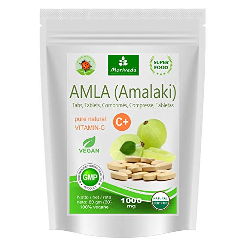 Amla Tablets 1000mg (60 or 180 compacts) Vitamin Bomb - 100% Natural Product with Vitamin C, Chromium, Minerals, proteins and B Vitamins. Immune System, Antioxidant (60 compacts)