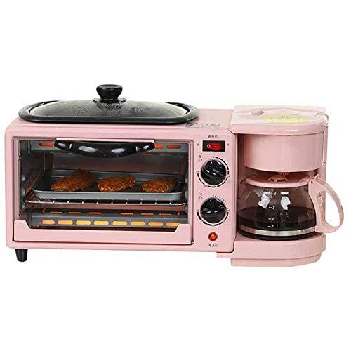 Máquina Eléctrica para Hacer Desayuno 3 En 1 Tostadora Multifunción Cafetera Retro Pan para El Hogar Sartén para Pizza para Oficina En Casa, Molde Rojo