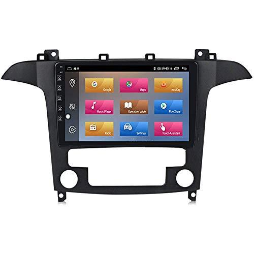 YLCCC Coche Estéreo Navigator Digital Resistivo FM Am Radio Receptor Player Multimedia con el Enlace de Bluetooth Mirror Llame a la Respuesta a Ford S-MAX1 2006-2015,4 Core 4g+WiFi: 1+32gb