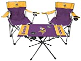 Rawlings NFL 3-Piece Tailgate Kit, 2 Gameday Elite Chairs and 1 Endzone Tailgate Table, Minnesota Vikings