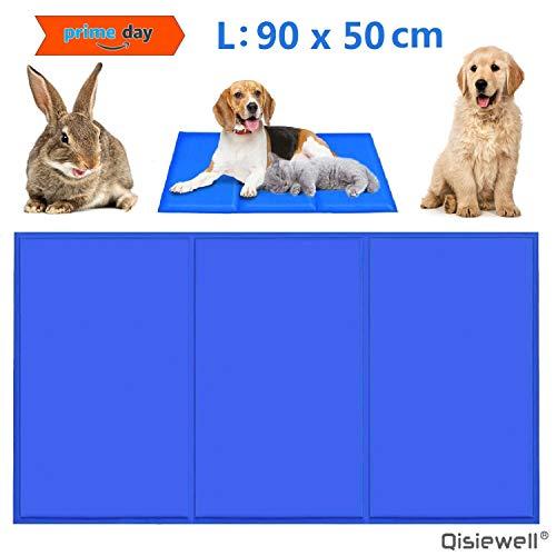 Qisiewell - Esterilla refrigerante para Perros y Gatos, 90 x 50 cm, Color Azul