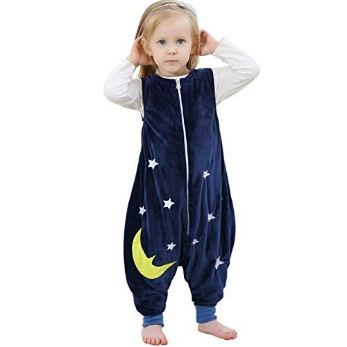 ZEEUPAI - Saco de Dormir con piernas de Franela para bebés niños infantíl Ropa Pijama niñas (M (3-5 años), Azul Marino - Estrellas)