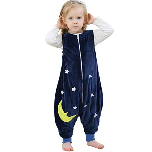 ZEEUPAI - Saco de Dormir con piernas de Franela para bebés niños infantíl Ropa Pijama niñas (S (1-3 años), Azul Marino - Estrellas)