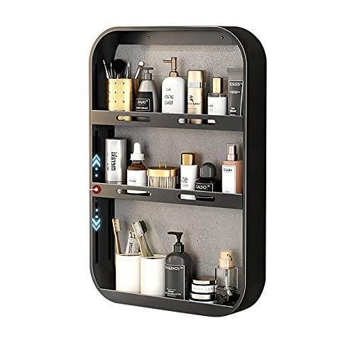 Organizador de estante de inodoro sin perforaciones, soporte de pared para baño, 3 estantes de altura ajustables para ducha, estante para especias