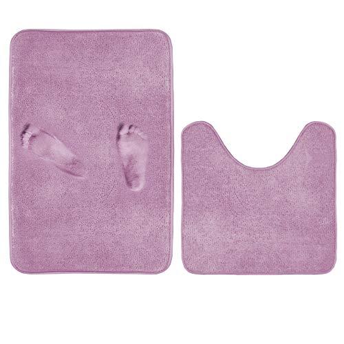 Microfiber Bathroom Set of 2 Soft Memory Foam Non Slip Bath Mat and U-Shaped Toilet Floor Rug with Non Slip Rubber Backing (Lilac, 20' x 32'/20' x 20'U)