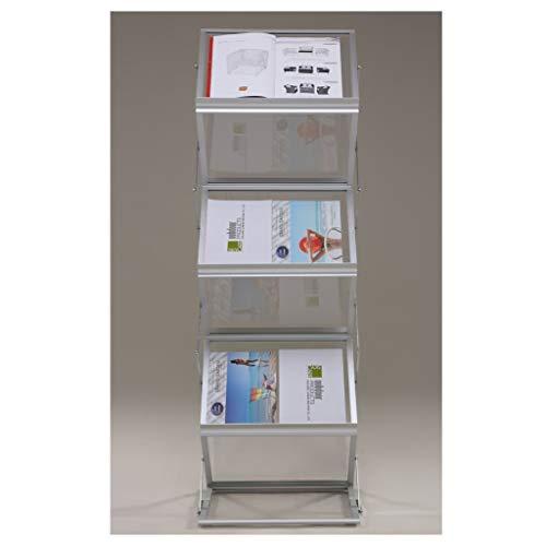 Prospektständer 6 Ebenen Faltbar, Aluminum, mit Tragtasche, Prospekthalter Katalogständer Flyerständer Infoständer JL3527