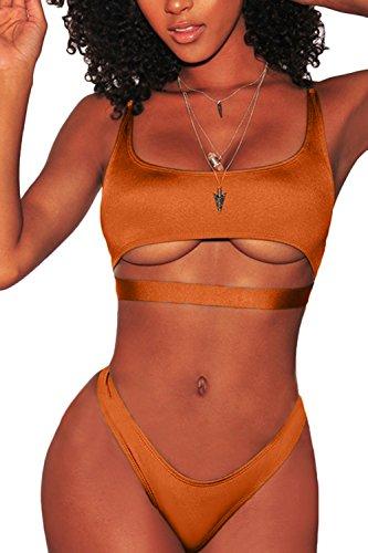 FAFOFA Womens Sexy Bikini Outfit Low Scoop Neck Spaghetti Straps Cut Out Underboob Crop Top High Cut Cheeky Bottom 2PCS Swimsuit Beachwear Dark Orange M