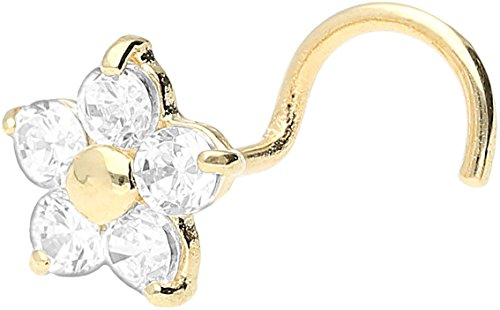 Piercing Line 18 quilates oro estudios nariz espiral cristal flor