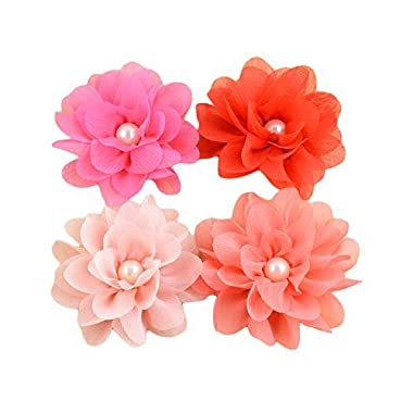PET SHOW 3  Dia. Valentine's Day Small Girls Dog Flowers Collar Charms Accessories For Cat Puppy Collars Bows Grooming Supplies Pink Red Pack of 4