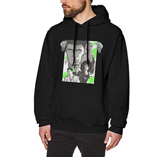 DDECD Herren Hoodie Kapuzenpullover Rebeccarcarter Cute Scarface Men's Cotton Graphic Hoody Black Long Sleeve Sweatshirt