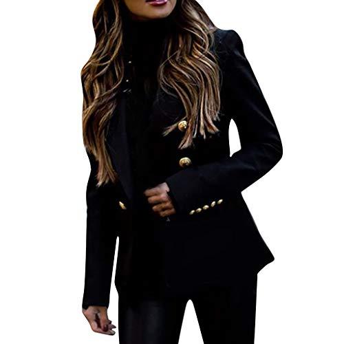 KPILP Damen Blazer Elegant Anzugjacke Mantel mit Knopfleiste Cardigan Einfarbig V-Ausschnitt Sakko Slim Fit Revers Anzüge Bolero Jacke Business Jacken Herbst Winter