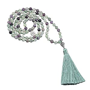 Rainbow Fluorite and Sterling Silver - 108 Prayer Bead Mala Necklace - Meditation Tassel Necklace