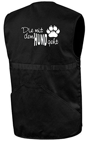 Die mit dem Hund geht Hundesportweste | Schwarz | Brust- und Rückendruck | Größe XL